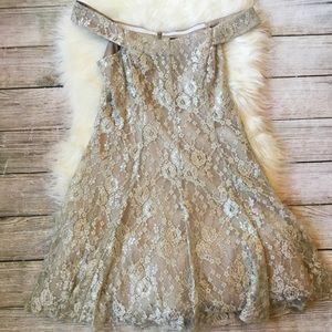 Sparkly Lace Off Shoulder Dress by Betsy & Adam